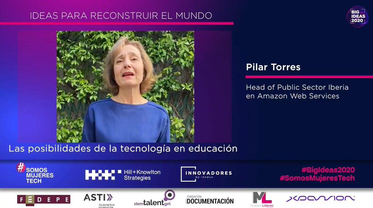 La ide a de @pilar2torres, Head of Public Sector Iberia en @awscloud_es, está relacionada con las posibilidades de la tecnología en educación.  #BigIdeas2020 #SomosMujeresTech https://t.co/cn94Pczub0