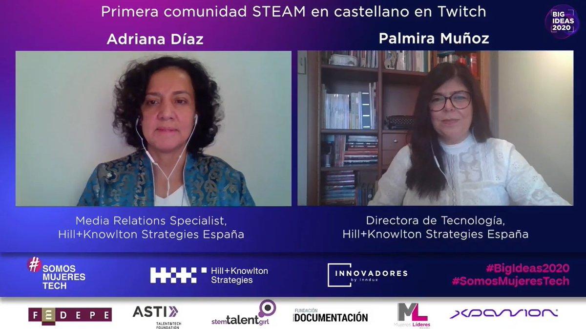 Nuestras compañeras @AdrianaCovaleda, Media Relations Specialist, y @palmimunoz, Directora de Tecnología, nos presentan su idea sobre la primera comunidad STEAM en castellano en Twitch.  #BigIdeas2020 #SomosMujeresTech https://t.co/rJFyJ3TMqA