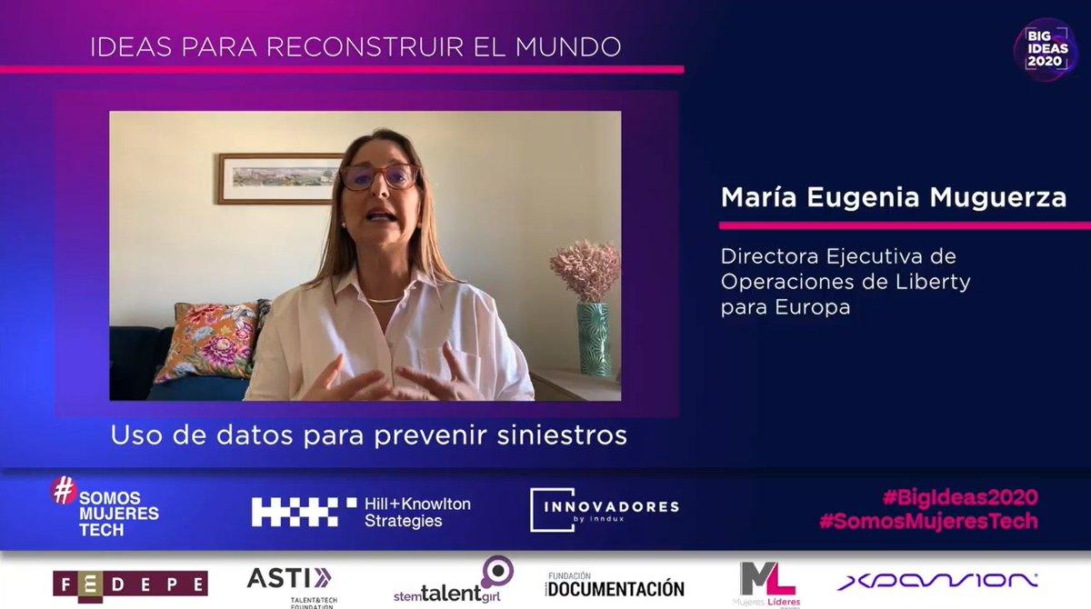 María Eugenia Muguerza, Directora Ejecutiva de Operaciones de @GrupoLiberty_es para Europa, nos comenta su #BigIdeas2020 sobre el uso de datos para prevenir siniestros.  #SomosMujeresTech https://t.co/OmrwpXXdK3