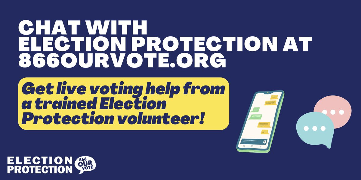 Chat with a trained Election Protection volunteer at . Click on the @866OURVOTE bubble in the upper-righthand corner to get started. We're here to help with any questions about upcoming special and run-off elections. #ProtectOurVote