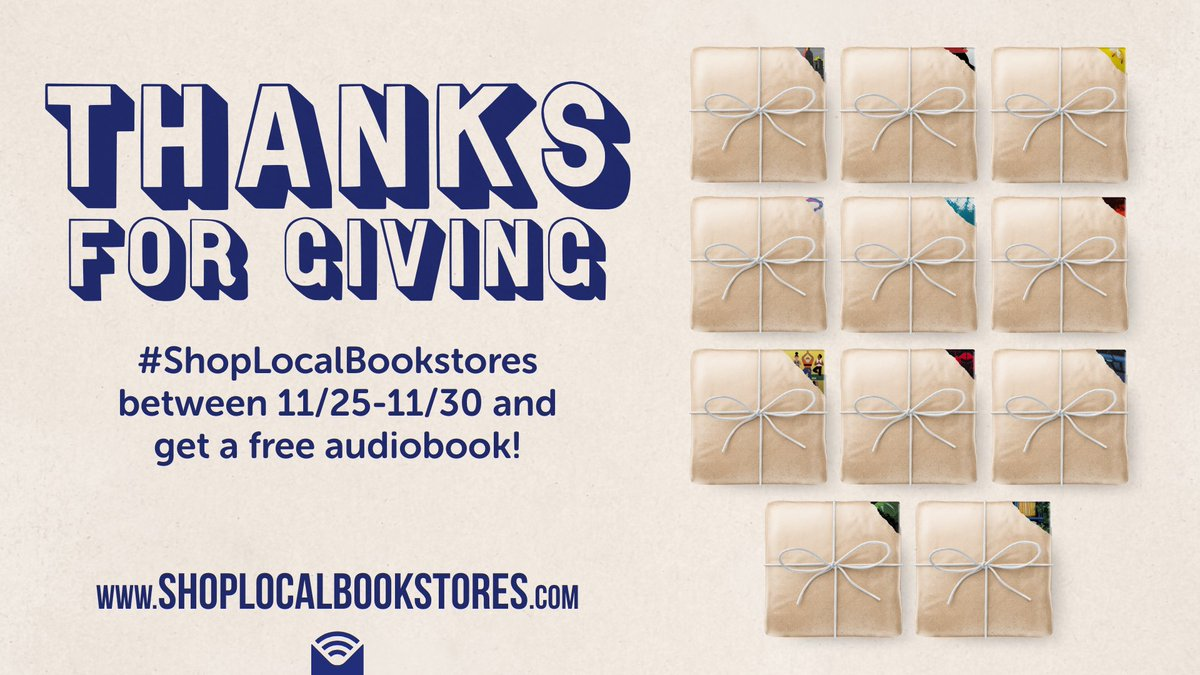 Thanks to the lovely folks @librofm, when you spend $15 or more at an #indiebookstore from 11/25- 11/30, you'll get to choose one of this year's bestselling audiobook for free from ! More details at  #wiredwednesday #shoplocal