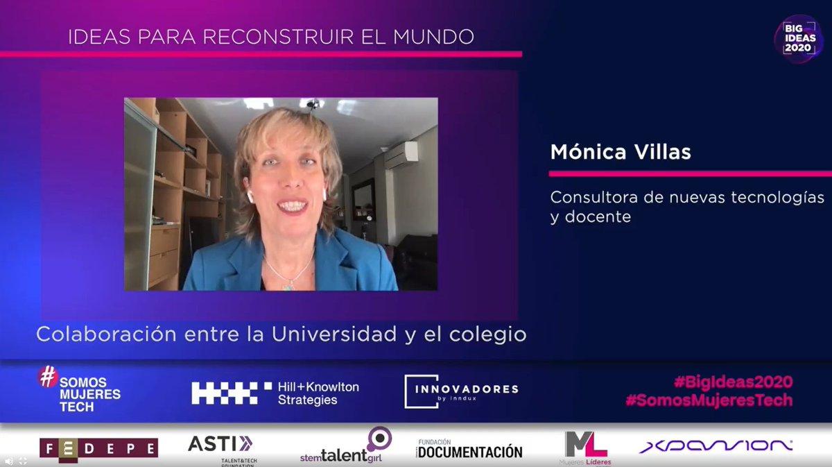 La #BigIdeas2020 de @mvillasolmeda, Consultora de nuevas tecnologías y docente, está relacionada con la colaboración entre la Universidad y el colegio.  #SomosMujeresTech https://t.co/7O0xJyXDBe