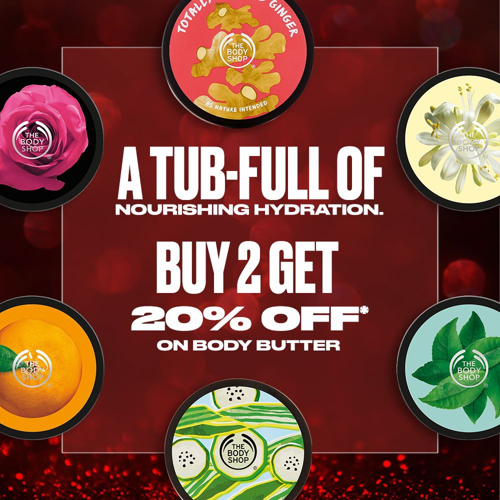 Get a tub full of our loved Body Butters for your winter skin care ritual that seeps deep into your skin and provides 24 hours moisture. Shop any 2 of our ICONIC Body Butters at 20%* off! Shop Online, In-store or via Home Delivery call +917042004412 #TBSInd #Sale #Offer #Discount