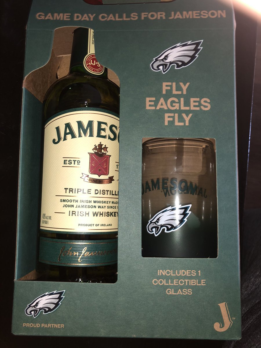 It sure does, especially since they're not so fun to watch lately! (I just wanted the glass.) #FLYEAGLESFLY #PHILADELPHIAEAGLES #GOBIRDS #JAMESONWHISKEY