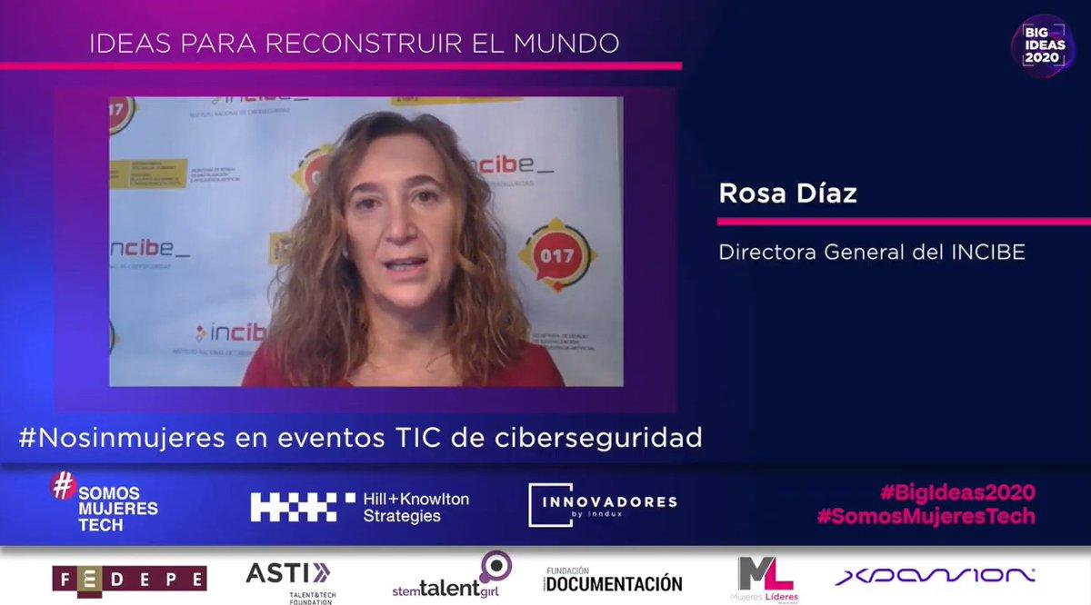 """.@rdiazmoles, Directora General de @INCIBE, nos presenta su idea llamada """"#Nosinmujeres en eventos TIC de ciberseguridad"""" #WAreinCyber  #BigIdeas2020 #SomosMujeresTech https://t.co/DwK6D2boCs"""
