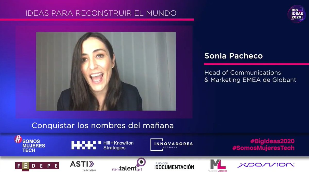 .@sonia_pacheco, Head of Communications & Marketing EMEA de @Globant, nos habla sobre su idea relacionada con conquistar los nombres delfuturo.  #BigIdeas2020 #SomosMujeresTech https://t.co/j22UCsNlLr