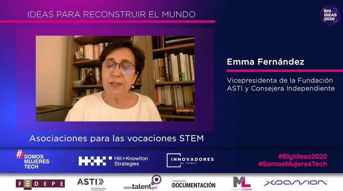 .@EmmaFdezA, Vicepresidenta de la Fundación ASTI y Consejera Independiente, presenta su idea relacionada con las asociaciones para las vocaciones STEM.  #BigIdeas2020 #SomosMujeresTech https://t.co/FTo6DykrBa