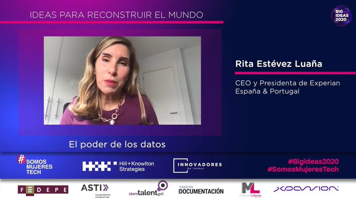 La #BigIdeas2020 de Rita Estévez, CEO y Presidenta de @Experian_ES, está relacionada con el poder de los datos y su explotación.  #SomosMujeresTech https://t.co/CbbQyIXjWB