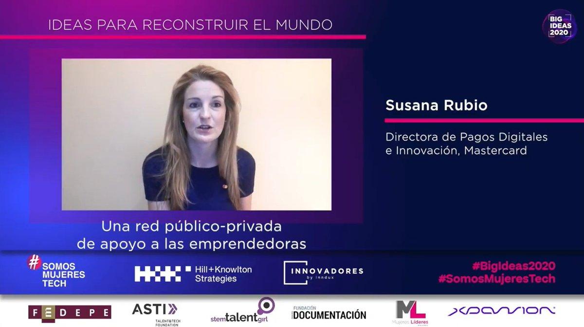 .@SusanaRub, Directora de Pagos Digitales e Innovación de @MastercardES, presenta su idea enfocada en crear una red pública y privada de apoyo a las emprendedoras.  #BigIdeas2020 #SomosMujeresTech https://t.co/plNZuuqV39