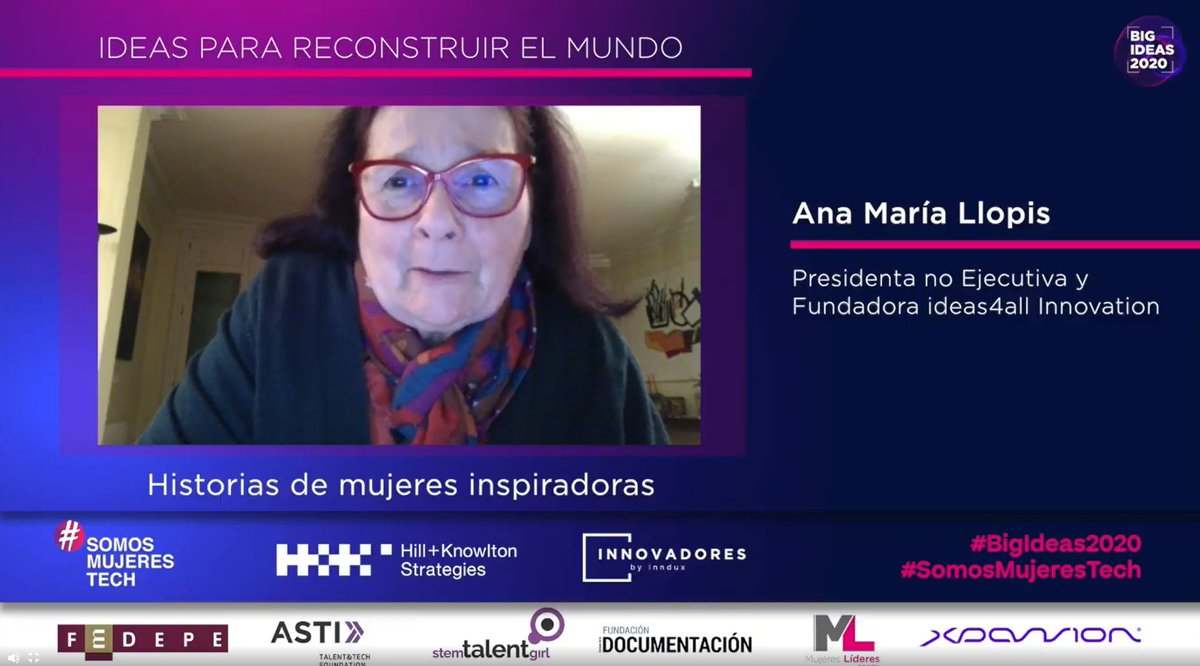 .@anamariallopis, Presidenta no Ejecutiva y Fundadora de @ideas4all, presenta su idea enfocada en contar historias de mujeres inspiradoras.  #BigIdeas2020 #SomosMujeresTech https://t.co/PDdtWXpUgG