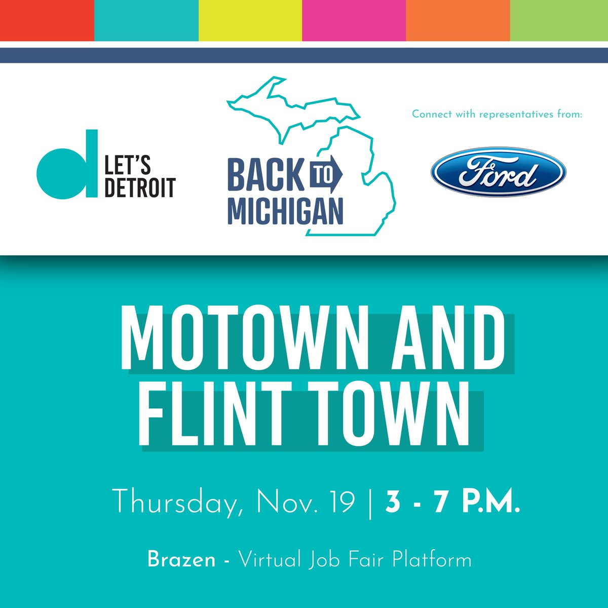 Was your job interrupted by the pandemic, or are you a recent college grad? If so, stop by and visit with Ford at the @LetsDET Motown and Flint Town virtual career fair tomorrow, Nov. 19, from 3:00 p.m. to 7:00 p.m. Register to attend: https://t.co/eHGp00xZ5v https://t.co/8b6c8C5Arg
