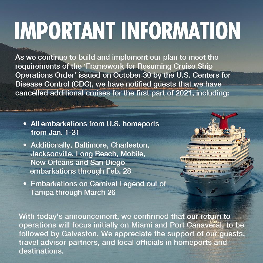 Important update regarding early 2021 U.S. sailings.