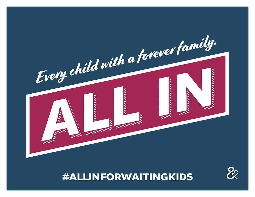 We're ALL IN with @ACFHHS's ALL-IN Foster Adoption Challenge to help find forever homes for the 122k kids in foster care waiting for adoption! November is #NationalAdoptionMonth - learn more about how you can help make a difference. #ALLINforWaitingKids