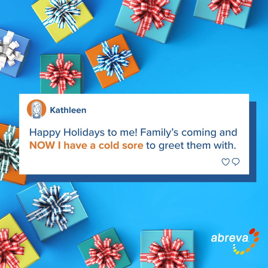 When just the thought of the holidays triggers a cold sore, treat at the first tingle with Abreva. #happyholidays #abreva #coldsore #bekindertoyourself #bekindtoyourself