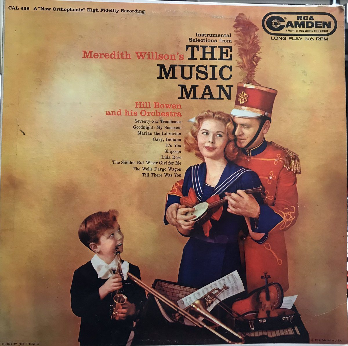 """INSTRUMENTAL SELECTIONS FROM MEREDITH WILLSON'S """"THE MUSIC MAN"""" RCA Camden, 1958  Hill Bowen was a British orchestra conductor and arranger. This recording takes the energy and excitement of the original show and makes it more of an 'easy listening' experience. #themusicman"""