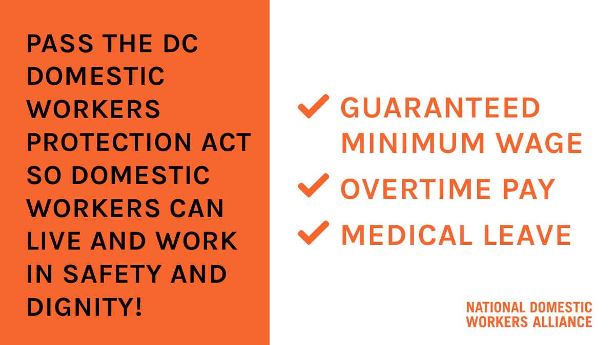DC's Domestic Workers Protection Act gives concrete workplace protections and creates solutions to challenges domestic workers face. The District's domestic workers are counting on @councilofDC to pass the bill.