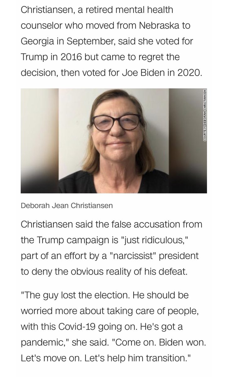 Here's what Deborah Jean Christiansen had to say about the president's campaign falsely claiming that her vote was a fraud: https://t.co/kXbqHb8mST https://t.co/flYHfGS2Fh
