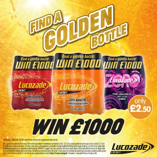 💸 #COMPETITION TIME 💸 Weve teamed up with @LucozadeEnergy to giveaway chances to #WIN £1,000! Find a #GoldenBottle inside a promotional multipack now available in-store! Promotion ends 21.12.20! WHICH flavour is your favourite- Original, Orange or Pink Lemonade?!