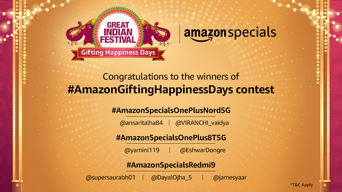 Congratulations to the winners of #AmazonGiftingHappinessDays contest. Please DM us with your details and Govt. ID proof to claim your prize. Keep watching this space for more such exciting contests!   #AmazonGreatIndianFestival  #AmazonSpecials