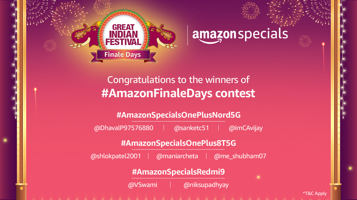 Congratulations to the winners of #AmazonFinaleDays contest. Please DM us with your details and Govt. ID proof to claim your prize. Keep watching this space for more such exciting contests!   #AmazonGreatIndianFestival  #AmazonSpecials