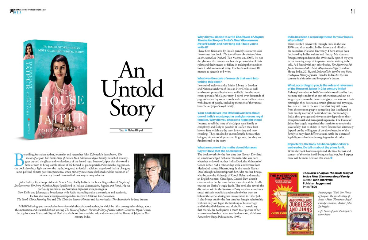 Replying to @peachykirpal: Read my interview with @JohnZubrzycki about his book 'The House of Jaipur' @juggernautbooks