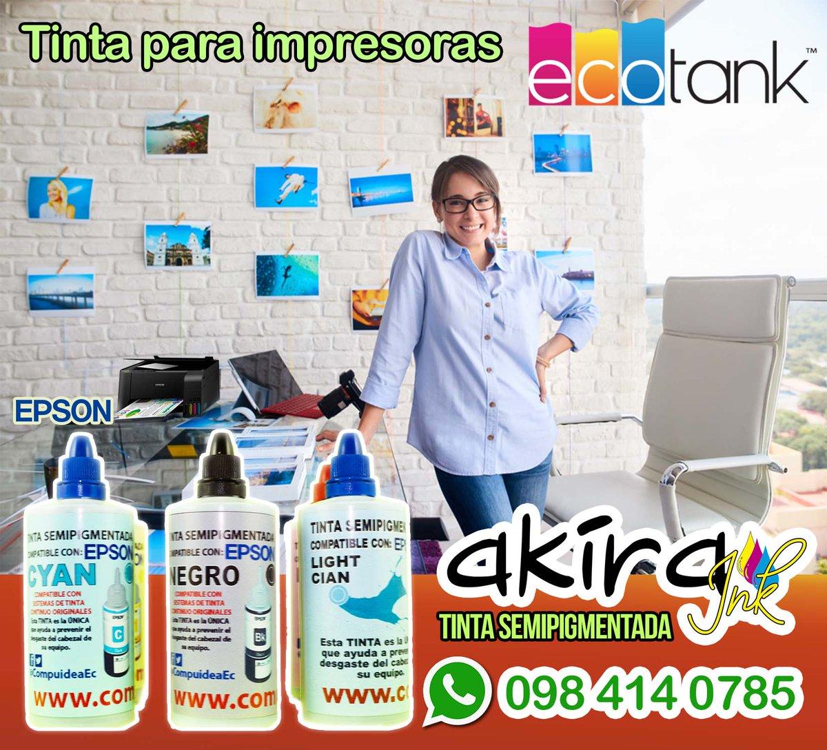 Tinta Akira Semipigmentada compatible con impresoras Epson de 4 y 6 colores ahorra con nuestra tinta probada y garantizada, única que ayudan a evitar el deterioro del cabezal de tu impresora #tinta #ecotank #imprime #oficina info -->