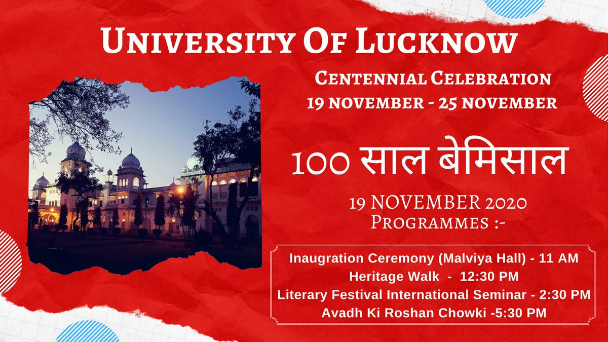 Join Virtually & Be Part Of 100 Year's Celebration. Zoom link To Join Centennial Celebration Events.   Meeting ID: 857 6158 0930 Passcode: 213763 @profalokkumar @lkouniv @dswlkouniv  #LUCentennialCelebration