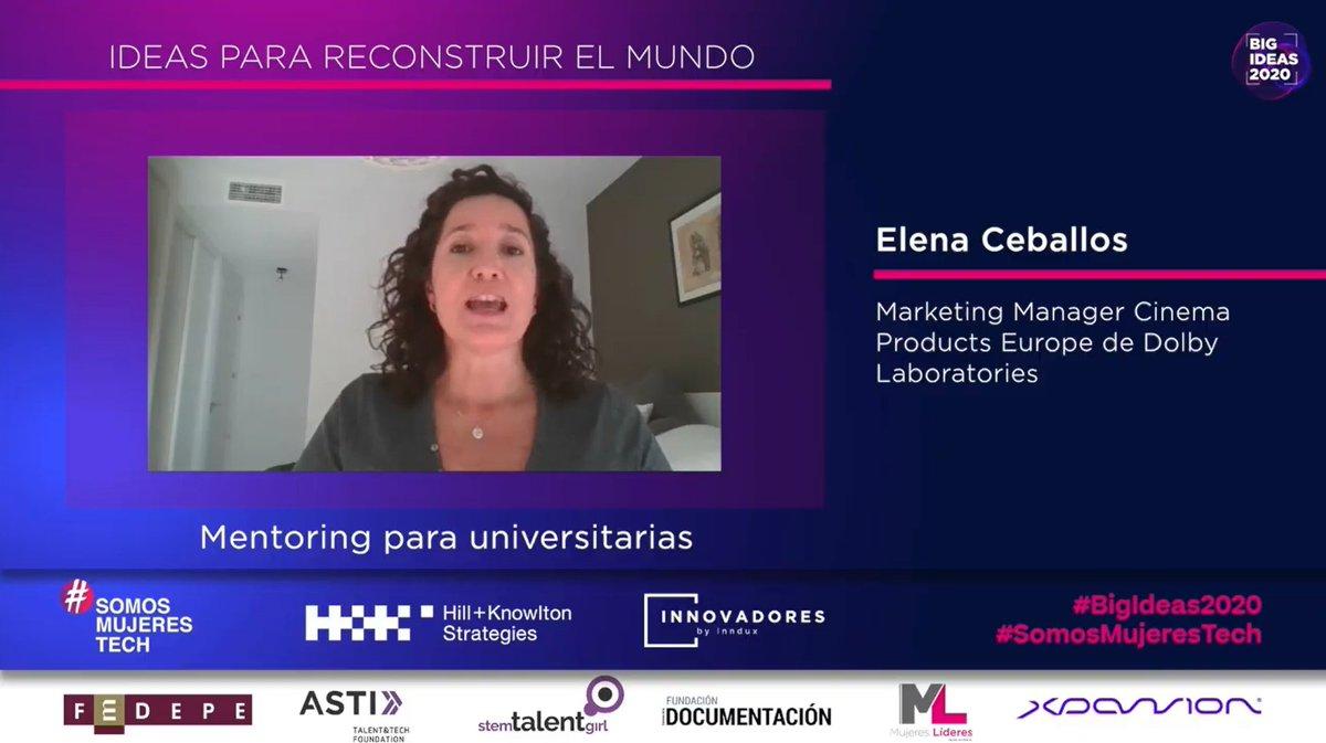 .@elenaceb, Marketing Manager Cinema Products Europe de Dolby Laboratories, presenta su idea sobre mentoring para universitarias.  #BigIdeas2020 #SomosMujeresTech https://t.co/xqvD5FXj0p