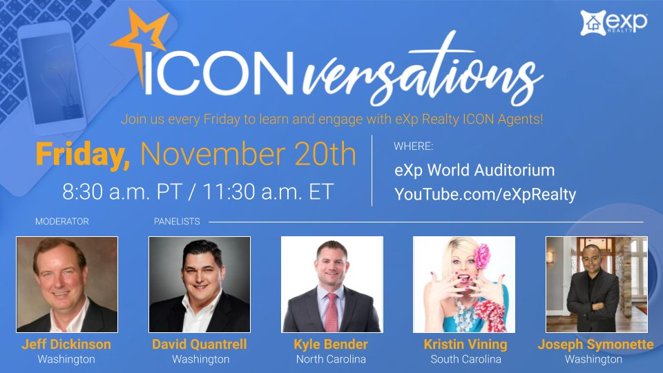 Thinking about joining eXp? Then join us on YouTube for a LIVE ICONversation this Friday. - https://t.co/OOsUnvKgiz  Collaborate & engage with a few of eXp's top-producing agents including Jeff Dickinson, David Quantrell, Kyle Bender, Kristin Vining & Joseph Symonette.  #eXpProud https://t.co/sneHzamVd3