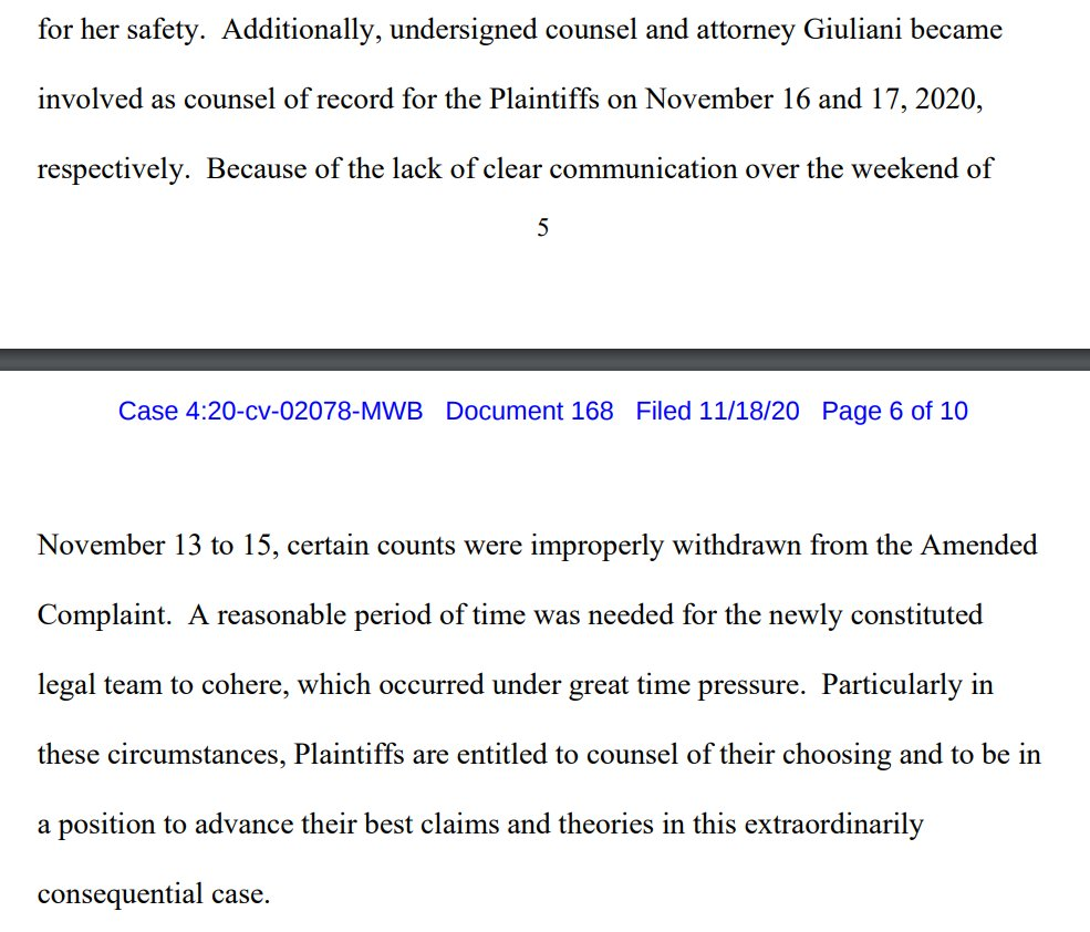 The Trump campaigns latest lawyers say things got pretty mixed up when its previous lawyers all quit, and because of a lack of clear communication ... certain counts were improperly withdrawn.