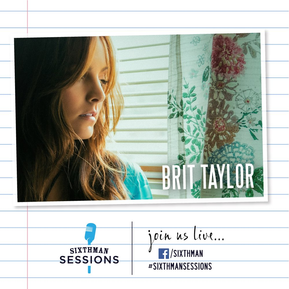 "We're excited to welcome @brittaylormusic to the virtual #SixthmanSessions stage! Tune in today at 6PM ET. She recently released her latest single ""Broken Hearts Break"" and her album Real Me will be released later this week. ❤️🎶 #SXMsessions facebook.com/sixthman/live"