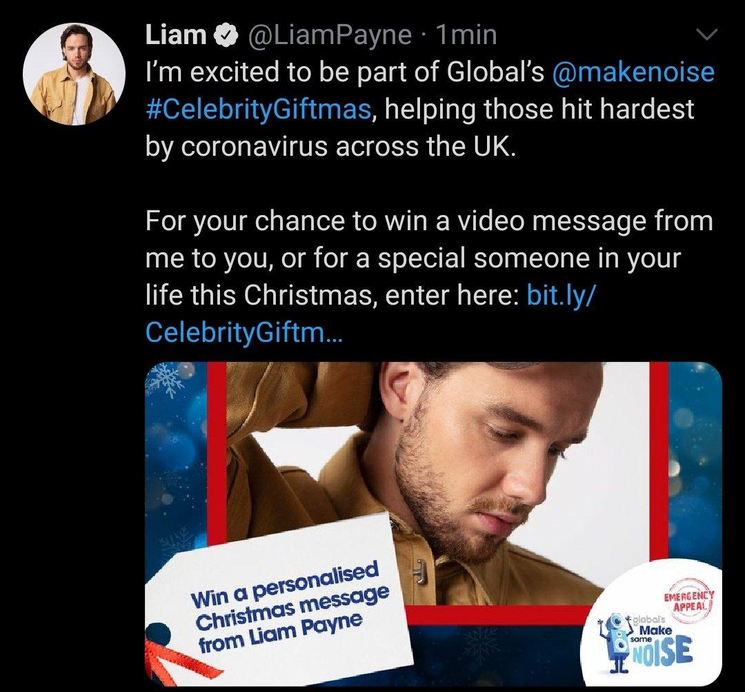 """Liam acaba de publicar en sus redes sociales que forma parte de """"Global's @makenoise"""" #CelebrityGiftmas, para ayudar a las personas de UK que peor lo están pasando debido al coronavirus."""