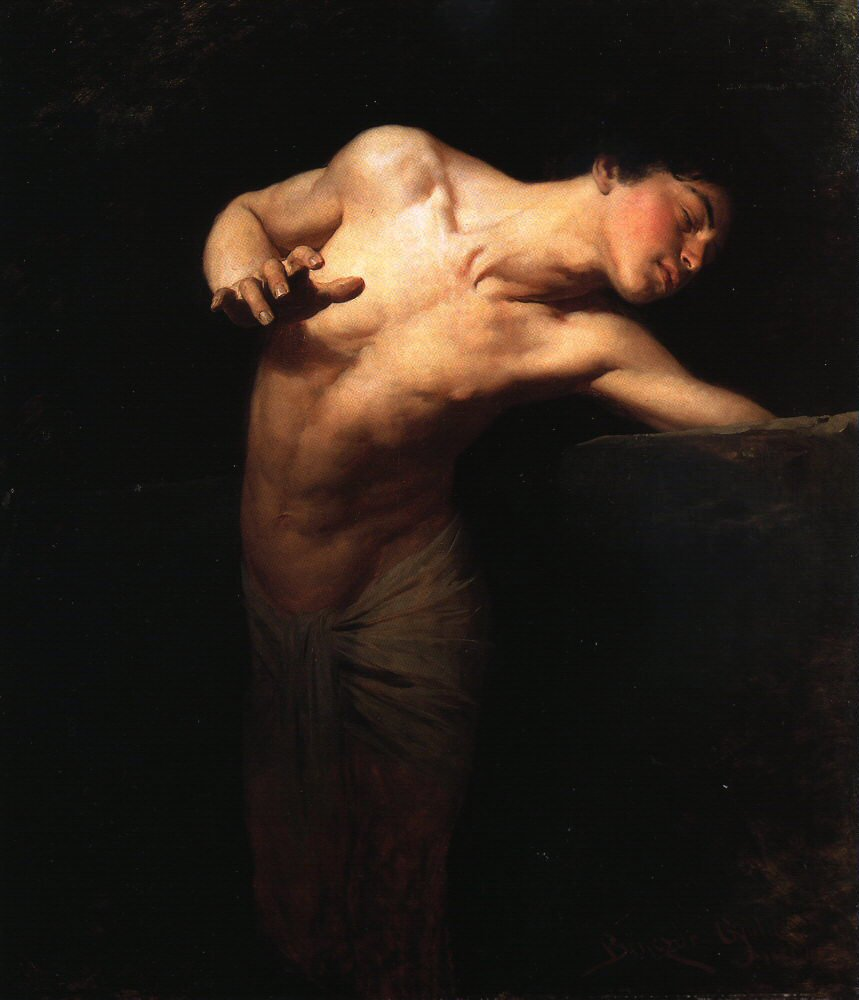 """""""Narcissus"""" Gyula Benczúr (28 January 1844, Nyíregyháza - 16 July 1920, Szécsény) was a Hungarian painter and art teacher. He specialized in portraits and historical scenes."""