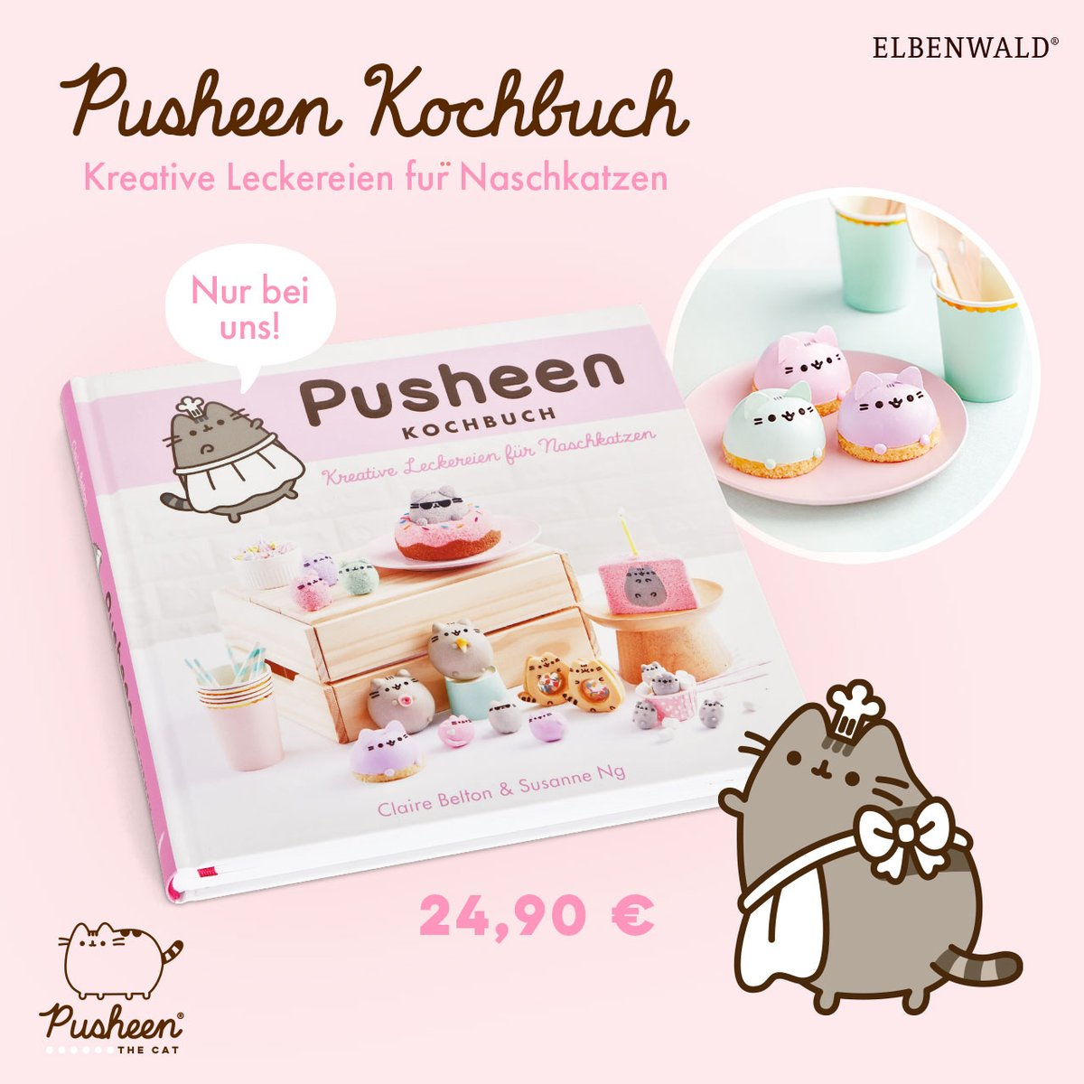 GERMAN PUSHEEN FANS! ✨ Lift your paws if youve been looking for the Pusheen cookbook...Well, now youre in luck! Shop #Pusheens newest book, LETS BAKE, at Elbenwald online via the link in our bio or in stores now! bit.ly/32W037m