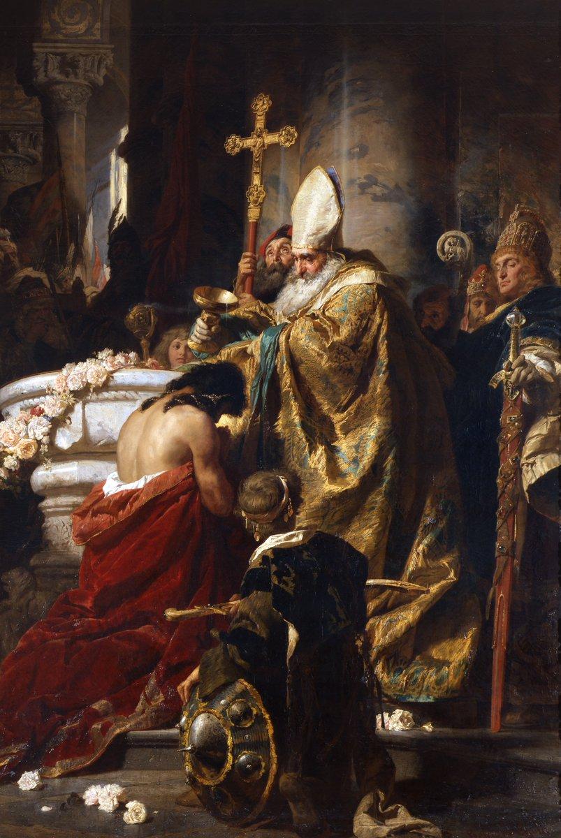 """The Baptism of Stephen I"" Gyula Benczúr (28 January 1844, Nyíregyháza - 16 July 1920, Szécsény) was a Hungarian painter and art teacher. He specialized in portraits and historical scenes."
