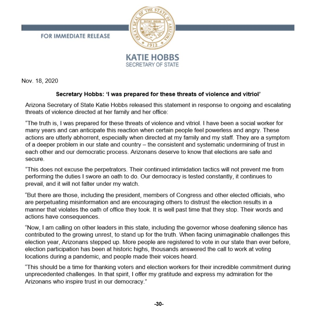 Arizona Secretary of State Katie Hobbs released this statement in response to ongoing and escalating threats of violence directed at her family and her office.