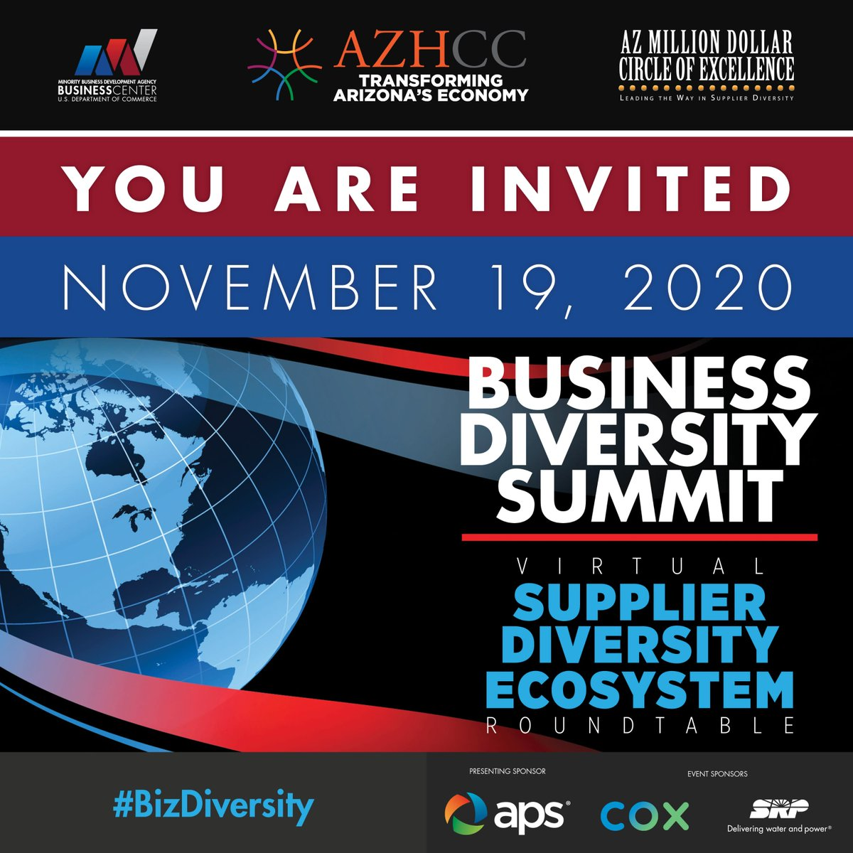 You're Invited to attend the Arizona Hispanic Chamber of Commerce Business Diversity Summit & Virtual Supplier Diversity Ecosystem Roundtable TOMORROW at 10AM MT. @AZHCC @PhoenixMBDA @USMBDA @AZHCCMonica @usblackchambers @USHCC @NMSDCHQ   Register here: