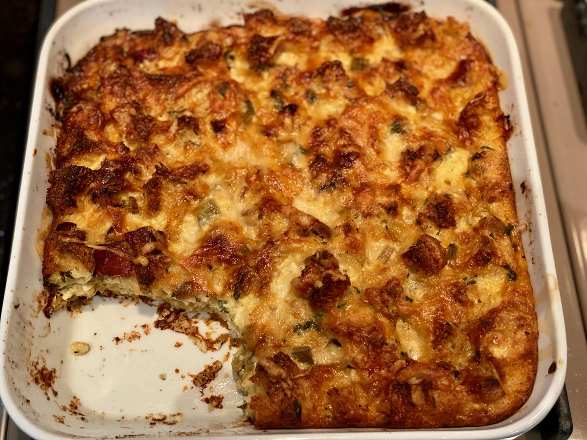For my Micro Thanksgiving this year (4 people!), I'm making my Herb & Apple Bread Pudding. Instead of stuffing the turkey which can dry it out, this savory bread pudding bakes separately but has all the flavor of traditional stuffing!