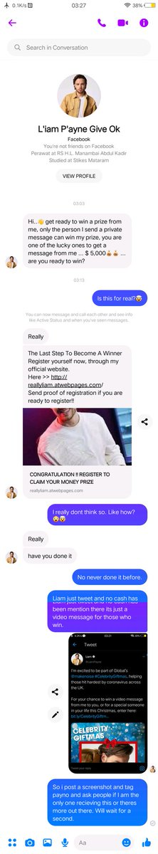 So there is a person who sent me a message maybe hes trying to convince me but all of sudden I just tell him what liam just tweeted. he send me this link to register but its not a reliable link. So when you recieve a message like this, its fake. @LiamPayne #celebritygiftmas