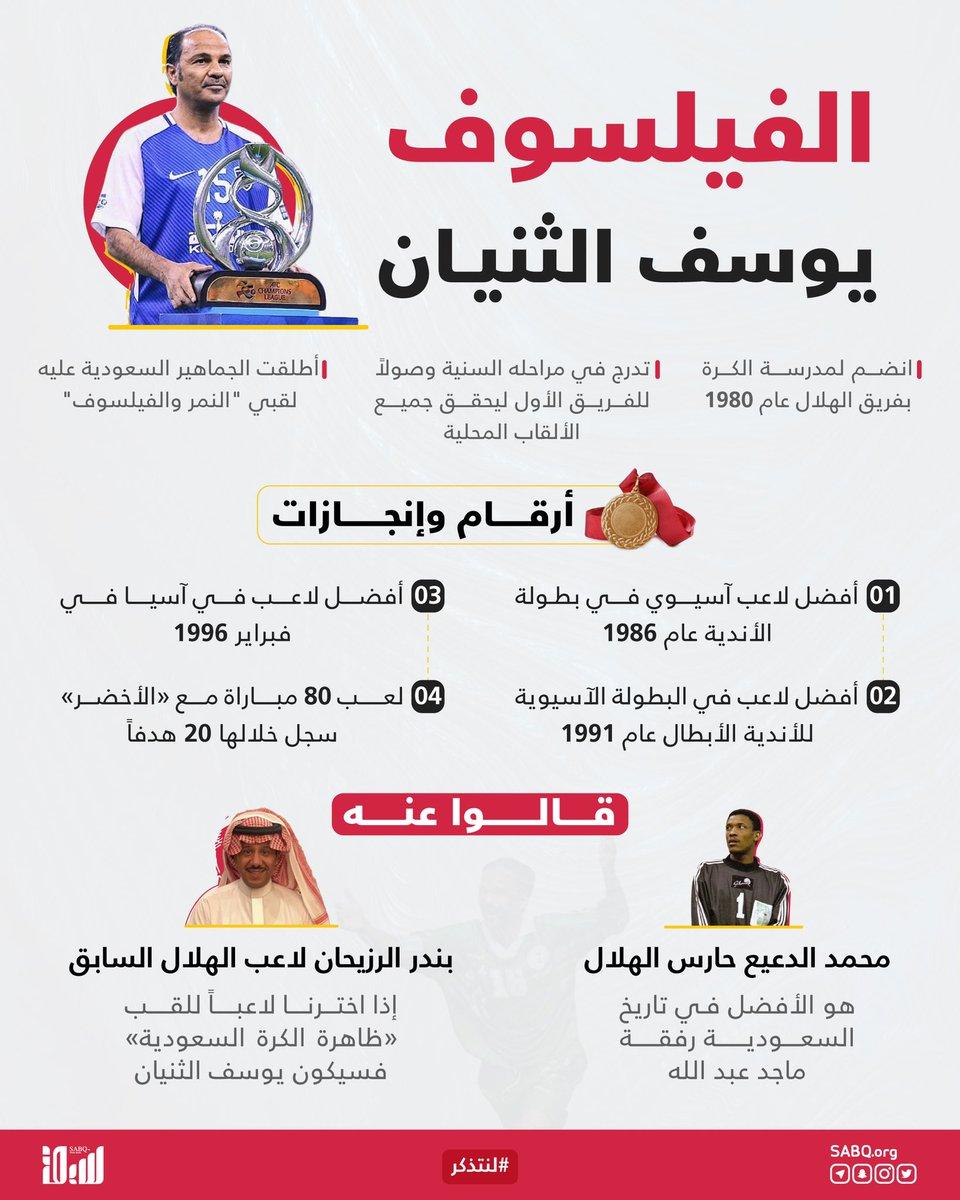 """حظيت كرة القدم السعودية بعدد كبير من اللاعبين المهرة الذين تركوا أثرًا لا ينسى في تاريخ الرياضة بالمملكة..  في مثل هذا اليوم من عام 1963، وُلد أسطورة الهلال و""""الأخضر"""" الفيلسوف يوسف الثنيان.  #لنتذكر"""