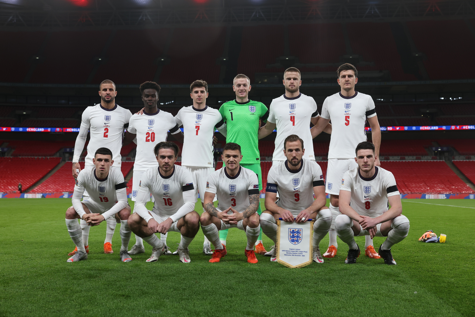 England line up ahead of the game against Iceland at Wembley Stadium