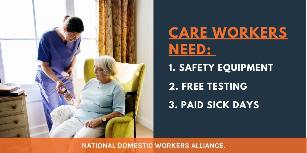 COVID cases are rising & cold weather has us indoors again. #EssentialWorkers like domestic workers are still working.  They need hazard pay, free testing, paid sick days, PPE, and child care.  It's time to pass the Essential Worker Bill of Rights (h/t @senwarren & @reprokhanna)