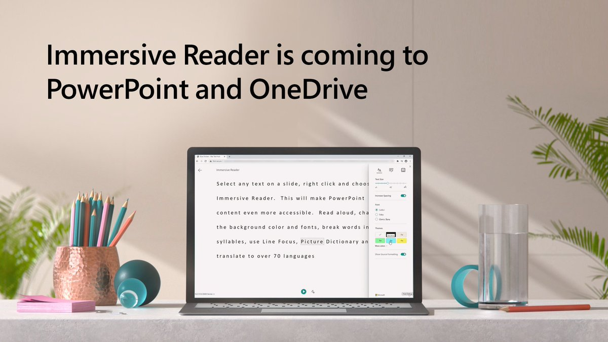ICYMI: Immersive Reader is coming soon to @PowerPoint and @OneDrive. Learn more: msft.it/6016pGJIE
