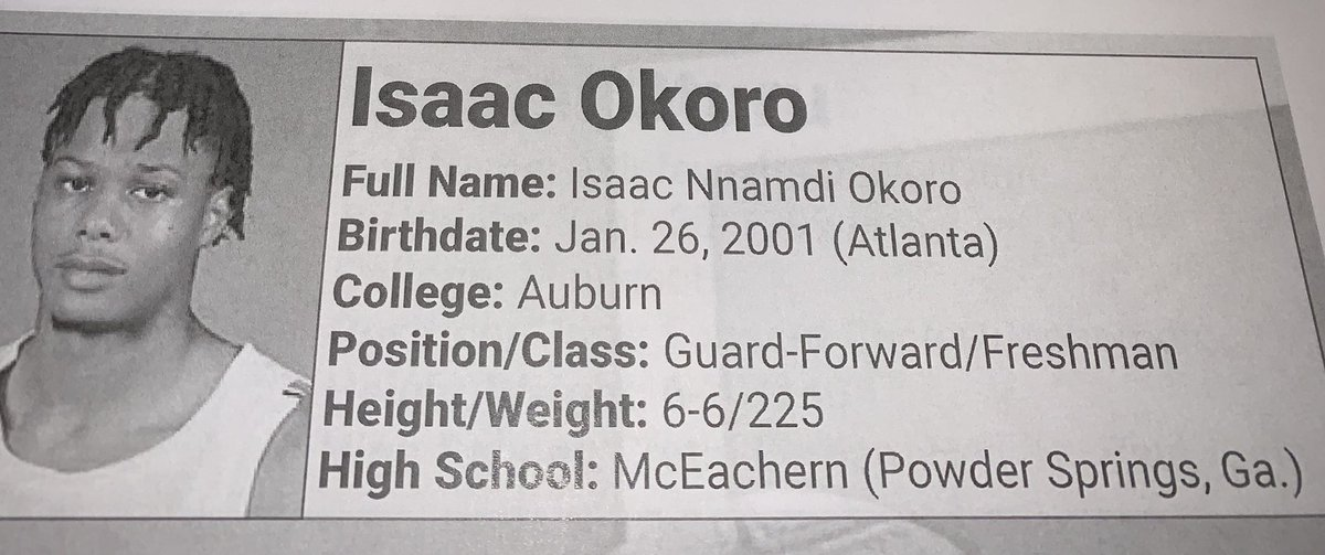 """Isaac Okoro - 5th overall pick to the Cleveland Cavaliers   Official Scouting Report from the """"2020 @NBA Draft Media Guide""""  @Cavs #CavsTV https://t.co/a7ImjpORpl"""