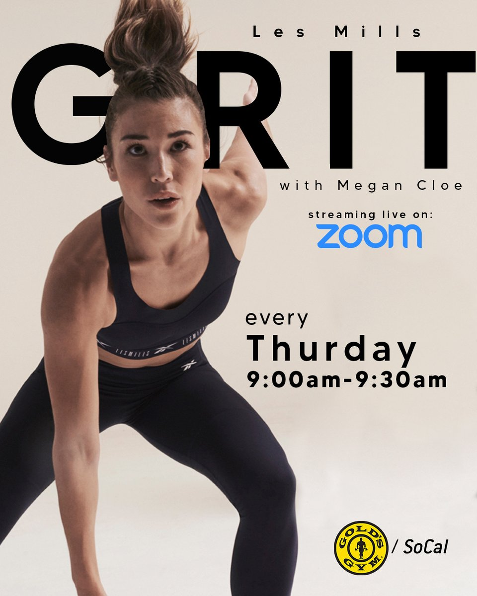 Get ready for #Grit every Thursday morning on #Zoom with #MeganCloe on @GoldsGymSoCal Zoom at 9 AM PST!⁠ Followed by #CXWorx at 9:30 AM PST to get those abs tight! -   ⁠ #GoldsGym #GoldsGymSoCal #StayInShape #GoldsAtHome #WorkoutIdeas #FitnessVideos