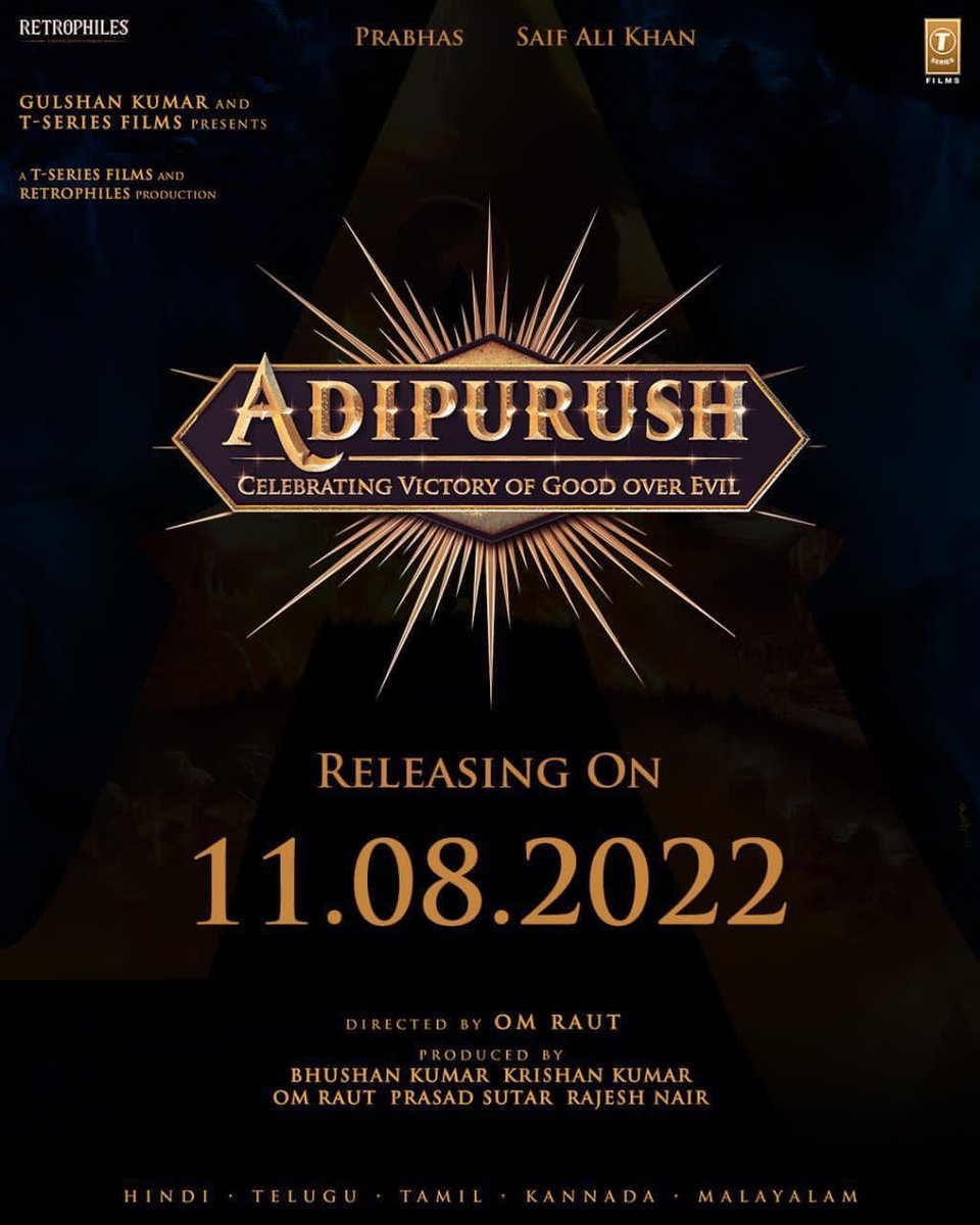 Big Announcement! #Adipurush release date is 11th Aug 2022! This is gonna be larger than life! What say my Twitter pals? #Prabhas #SaifAliKhan @omraut #BhushanKumar @vfxwaala @rajeshnair06 @TSeries @retrophiles1 #TSeries @TrendsPrabhas #SiddharthKannan #SidK