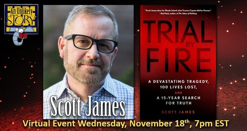 Tonight! In one hour at 7pm EST I'll be appearing (virtual event) at @unlikelybkstore to be interviewed and answer your questions about TRIAL BY FIRE, my new book on The Station nightclub fire. There's still time to reserve a spot: