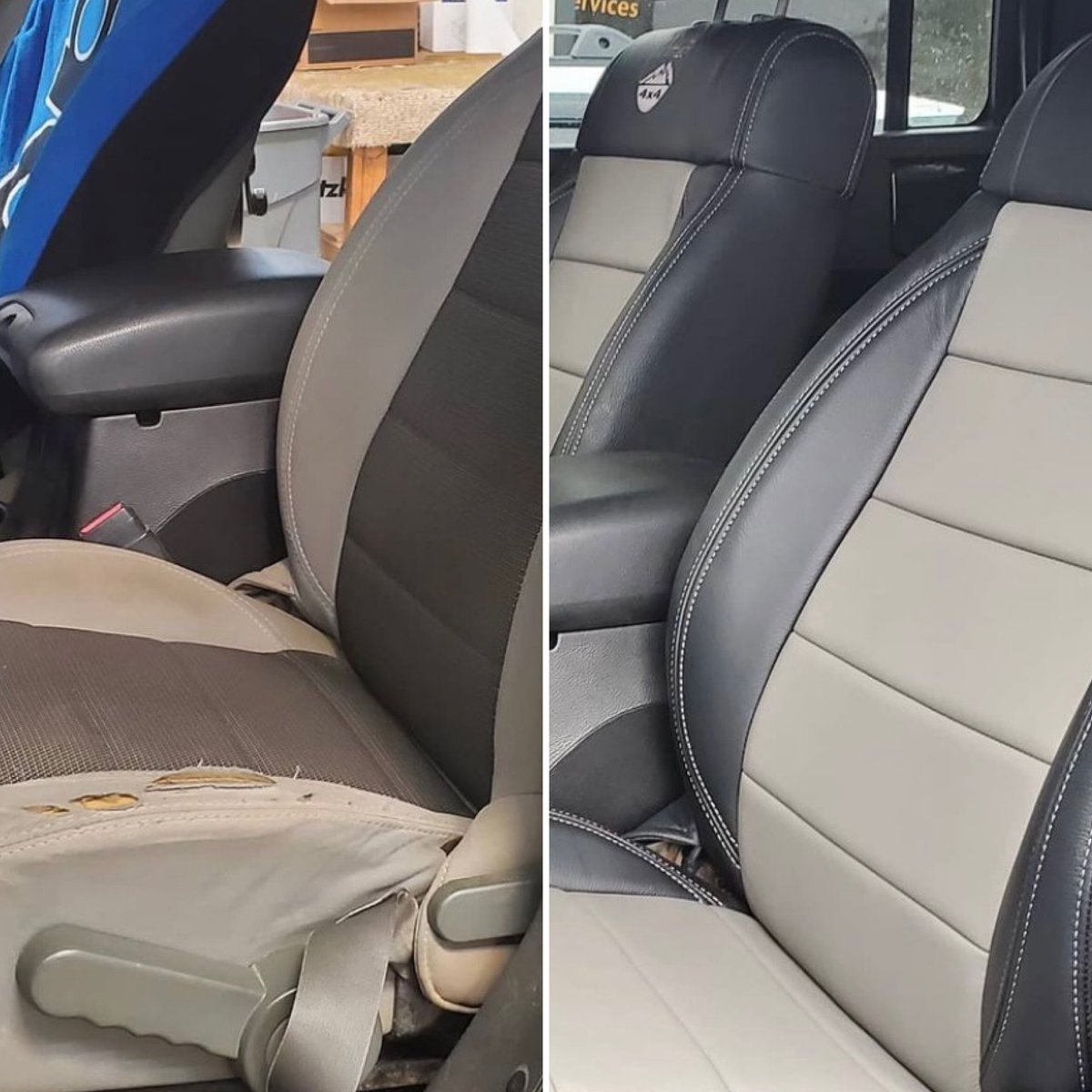 This #Jeep did it up WAY big with its Katzkin XT leather 🏋️ from @atncustoms  #jeepupgrade #hemi #hemipowered #beforeandafter #loveyourdrive #becauseclothsucks #leatherisbetter #katzkin #katzkinleather #customleather #custominterior https://t.co/dgQU5KqsPw