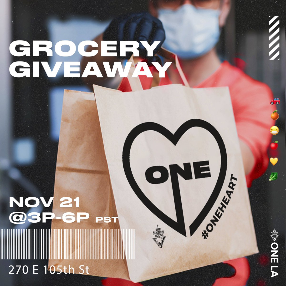 As OneHOUSE⛪️, OneFAMILY🤝 and with  OneHEART💛, we're serving our local community with FREE fresh produce this Sat, Nov 21st @ 3PM - 6PM Come to 270 E 105th St, LA, CA 90003 to grab your groceries while supplies last. Social distancing measures & mask wearing will be practiced.