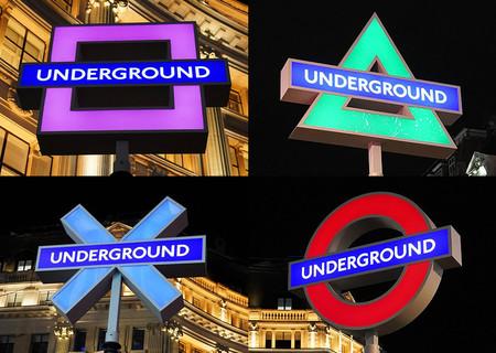 【衣替え】ロンドンの駅、地下鉄マークがプレステ模様に英国でのPS5発売に合わせた取り組み。交差点の四隅にあるマークは通常赤い「○」だが、期間中はカラフルな「△○×□」に変更される。